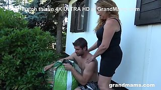 Dirty grandma makes me cum in the backyard