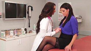 Busty teacher licked by hot school nurse