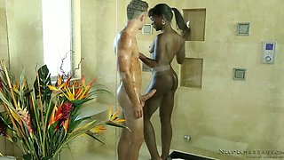 Black petite sweetie Ana Foxxx has steamy session with horny white dude in the shower