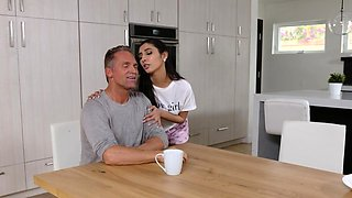 Mexican stepdaughter rides cock