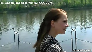 Cock loving girl is giving a blowjob to her ex, while they are in the nature