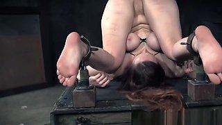 Submissive beauty punished during bondage