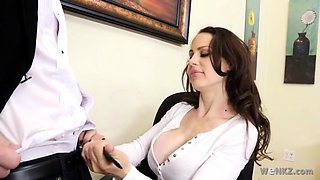 Voluptuous vixen ravished in the office