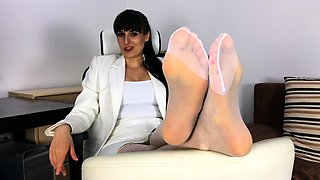 Leather Mistress Nylon Foot Slave