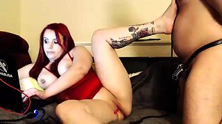 Curvy webcam milf toys her peach and dominates her husband