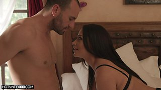 Nice sex in the bed with adorable Avi Love in black stockings