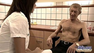 Slutty doctor is sucking her elderly patients dick and fucking him, to make him feel better