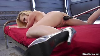 Big tits curved blonde fucks machine