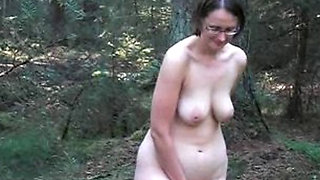German hot mature has fun in the forest. Reality.