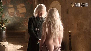 Emilia Clarke shows some of her left butt cheek in a hot GoT Scene