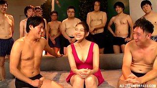 Bukkake ending for sexy Saryuu Usui after an oral gangbang