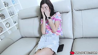 Stepbro caught Audrey Grace masturbating and sniffing panty