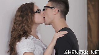 Stylish girl in glasses needs sex and flirts with a guy