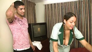 Big-chested maid Selena Star impresses hotel guest with her big juggs