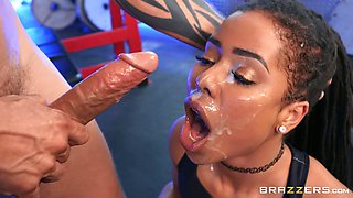Rough sex at the gym is all about ebony girl Kira Noir talking