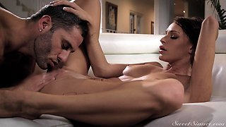 Romantic fucking in the living-room with nice ass wife Emma Hix