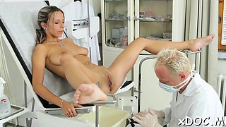 Naughty honey got fucked in her pussy by a lascivious doctor