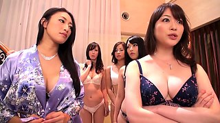Wild Asian ladies get together for an intense lesbian orgy