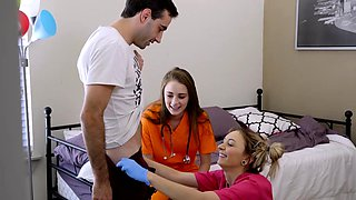 Cute blonde nurse massages her stepbrothers big cock