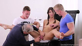 Virgin Marisa looses virginity with two guys after doctor