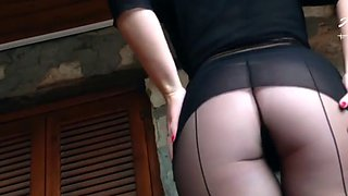 German nylon mistress anett larman in black pantyhose