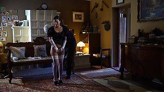 Blindfolded slave maid fondled