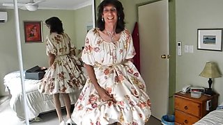 Crossdresser michelle playing in floral frock