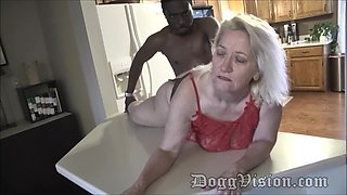 BBW granny gives her ass to black man