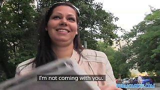 PublicAgent: Stunning brunette babe is bent over on my car