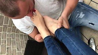 Sexy-Lena and her foottslave