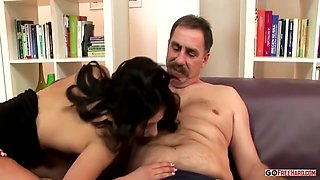 Old Man And Young Brunette Fuck
