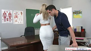 Extremely sexy big racked blonde professor was fucked right on the table