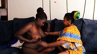 Hot Real African Lesbian Action on the Couch