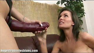 Huge strap on dildo lesbians sex
