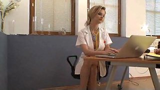 White French bitch in leather nurse costume fucked
