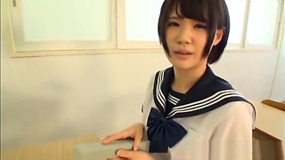 Arousing Asian teen in school uniform for a pov sex show