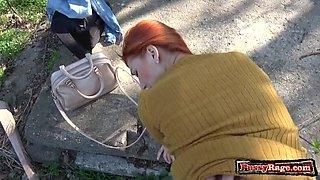 Hot teen outdoor with cumshot