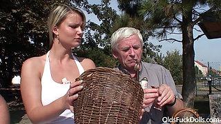Hot blonde Samantha Jolie fucked by old grandpa and grandma