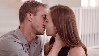 Gorgeous red head Danni Rivers is making love with her new boyfriend