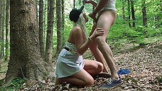 Interrupted Sex in Public Park - Caught by Strangers at Blowjob in Forest