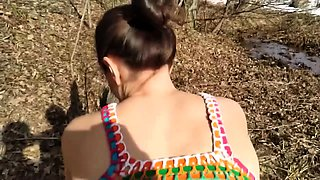 Horny babe loves fucking and sucking in the woods