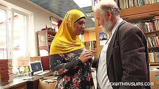 Horny Bookstore owner fucks a happy muslim milf