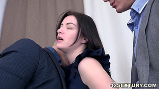 Threesome in the office and a DP