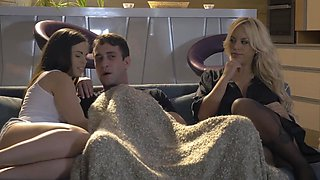 Nekane Sweet and Blondie Fesser share a huge facial after threesome