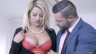 Classy stockings blonde gets fucked in the office real hard