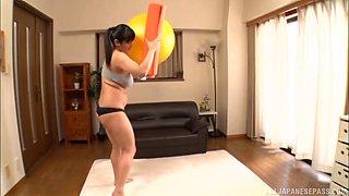 Busty Asian babe Haruna Hana plays with her tight hairy pussy