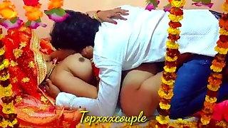 Desi hot couple's first night suhagrat hard sex and fuck