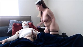 Chubby mature nurse in stockings wildly rides a stiff cock