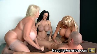 Charles Dera is surrounded and pleased by 3 MILFs