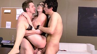 Busty professor gets foursome gangbang